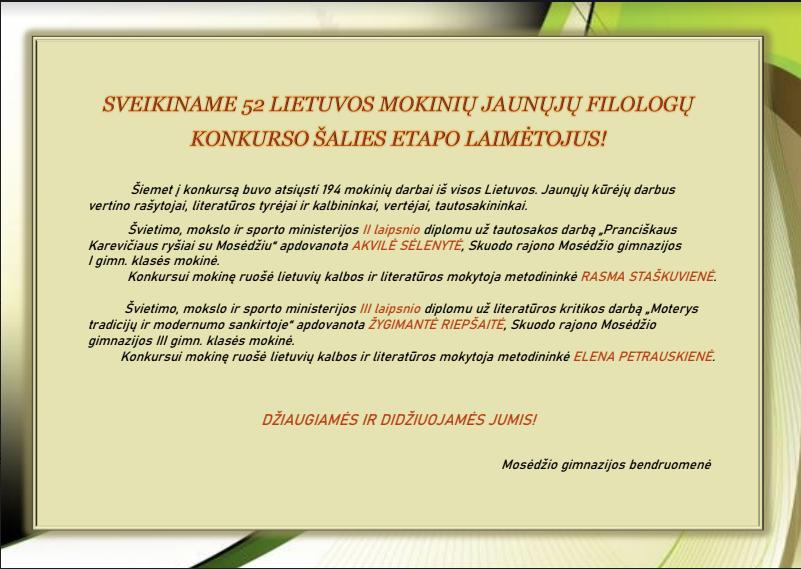 Sveikiname 52 Lietuvos mokinių jaunųjų filologų konkurso šalies etapo nugalėtojus