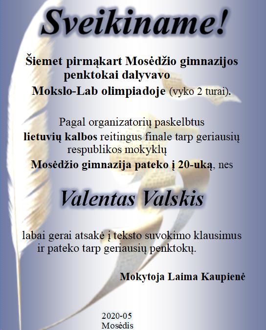 Sveikiname Valentą!